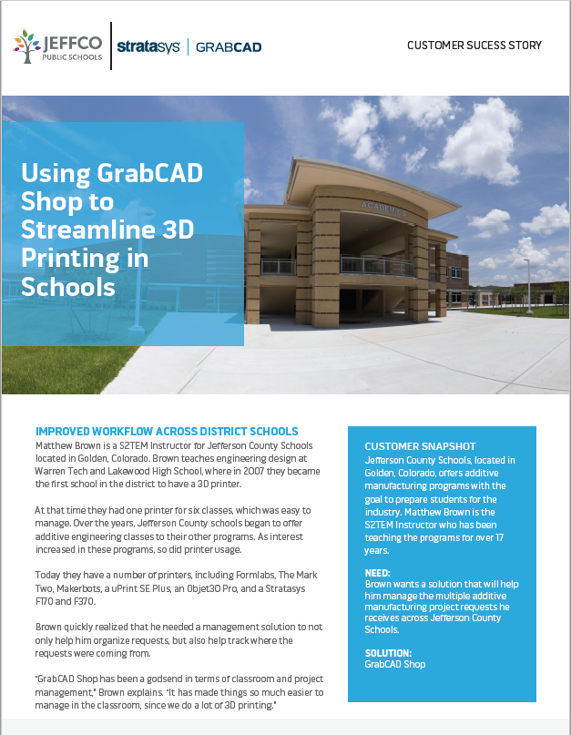 GrabCAD Shop for Schools Case Study